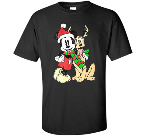 Disney Mens Mickey Mouse & Pluto Christmas Holiday Distressed Print Black / Small Custom Ultra Cotton Tshirt - PresentTees