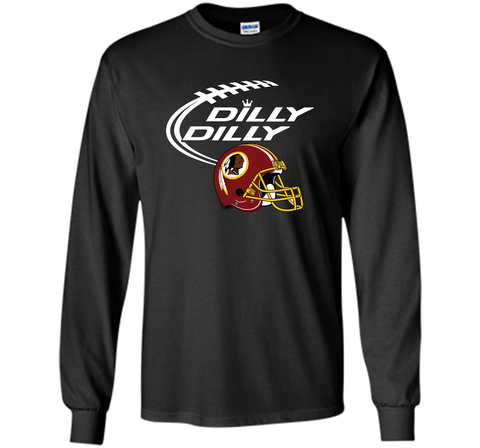 DILLY DILLY Washington Redskins NFL Team Logo Black / Small LS Ultra Cotton TShirt - PresentTees