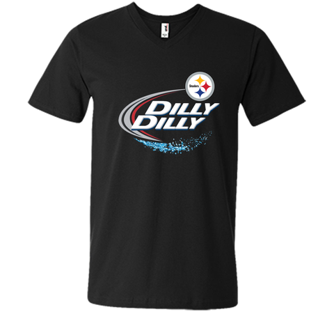 Pittsburgh Steelers Dilly Dilly T-Shirt NFL Football Gift Fans Black / Small Men Printed V-Neck Tee - PresentTees
