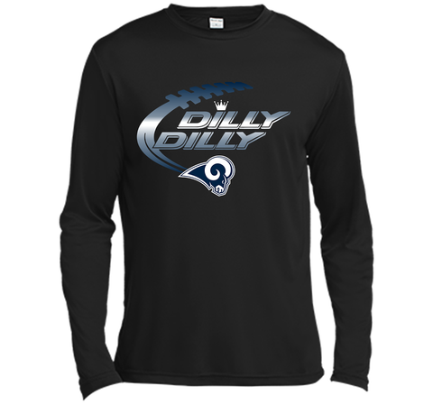 Los Angeles Rams Dilly Dilly Bud Light T Shirt LAR NFL Football Team Gift for Fans Black / Small LS Moisture Absorbing Shirt - PresentTees