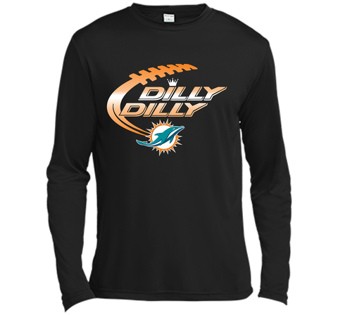 Miami Dolphins MIA Dilly Dilly Bud Light T Shirt NFL Football Gift for Fans Black / Small LS Moisture Absorbing Shirt - PresentTees