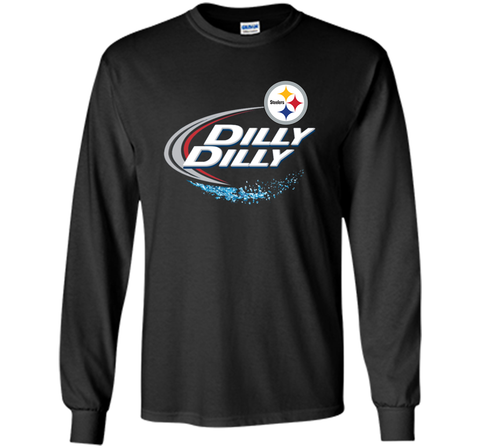 Pittsburgh Steelers Dilly Dilly T-Shirt NFL Football Gift Fans Black / Small LS Ultra Cotton TShirt - PresentTees