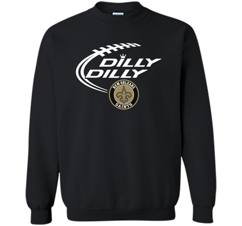 DILLY DILLY  New Orleans Saints shirt Black / Small Crewneck Pullover Sweatshirt 8 oz - PresentTees