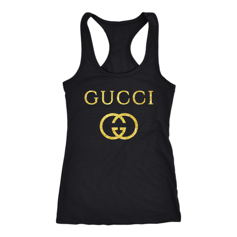 Gucci Logo Vintage Inspired Women's Tank Top Next Level Racerback Tank / Black / S T-shirt - PresentTees