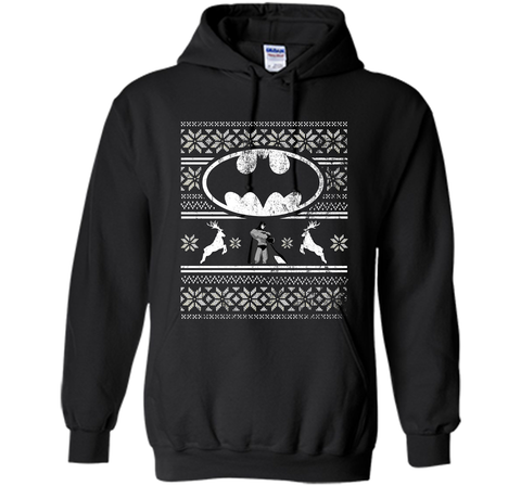 DC COMICS BATMAN FAIR ISLE CHRISTMAS Shirt Black / Small Pullover Hoodie 8 oz - PresentTees