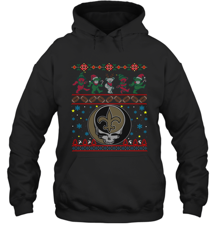 New Orleans Saints Christmas Grateful Dead Jingle Bears Football Ugly Sweatshirt Adult Unisex Hoodie Sweatshirt Adult Unisex Hoodie Sweatshirt / Black / S Adult Unisex Hoodie Sweatshirt - PresentTees