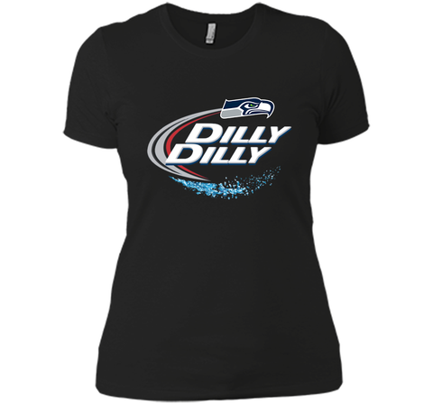 Seattle Seahawks SEA Dilly Dilly Bud Light T Shirt SEA NFL Football Gift for Fans Black / Small Next Level Ladies Boyfriend Tee - PresentTees
