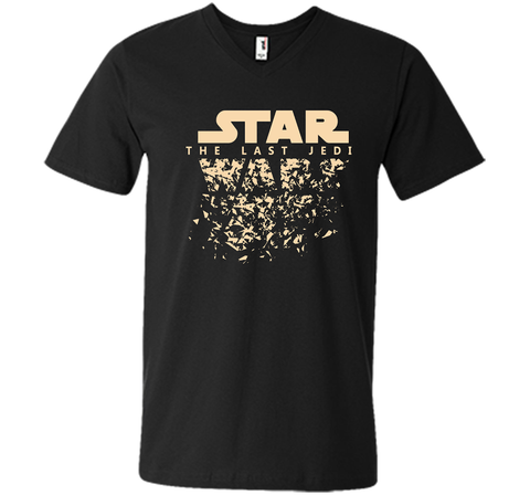 Star Wars Last Jedi Disintegrated Logo Graphic Black / Small Men Printed V-Neck Tee - PresentTees