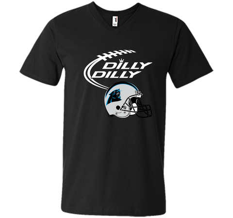 DILLY DILLY Carolina Panthers NFL Team Logo Black / Small Men Printed V-Neck Tee - PresentTees