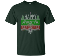 Happy Holigays Rainbow Gay - Lesbian Ugly Christmas Sweater T-Shirt Custom Ultra Cotton Tshirt - PresentTees