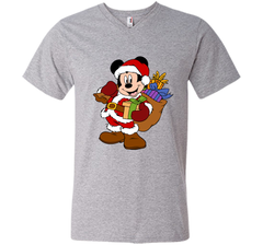 Disney Santa Mickey Mouse Christmas gifts Men Printed V-Neck Tee - PresentTees