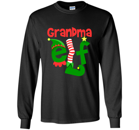 Grandma Elf - T-Shirt Christmas Family Matching Pajamas Gift Black / Small LS Ultra Cotton TShirt - PresentTees