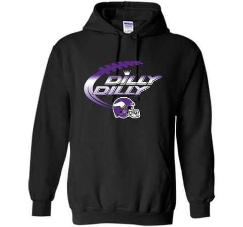 Minnesota Vikings Dilly Dilly T-Shirt NFL Football Gift Fans Black / Small Pullover Hoodie 8 oz - PresentTees