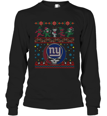 New York Giants Christmas Grateful Dead Jingle Bears Football Ugly Sweatshirt Adult Unisex Long Sleeve T-Shirt Adult Unisex Long Sleeve T-Shirt / Black / S Adult Unisex Long Sleeve T-Shirt - PresentTees