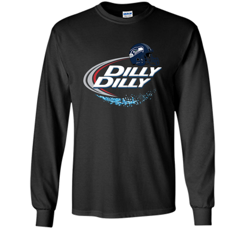 Seattle Seahawks Dilly Dilly Bud Light T Shirt SEA NFL Football Black / Small LS Ultra Cotton TShirt - PresentTees