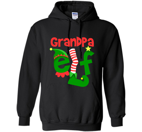 Grandpa Elf - T-Shirt Christmas Family Matching Pajamas Gift Black / Small Pullover Hoodie 8 oz - PresentTees