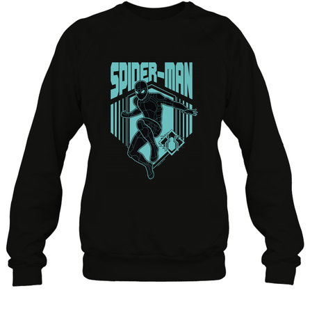 Marvel Spider Man Far From Home Stealth Suit Silhouette Crewneck Sweatshirt Crewneck Sweatshirt / Black / S Crewneck Sweatshirt - PresentTees