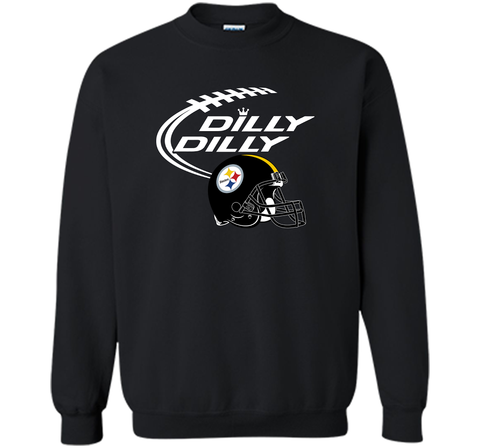 DILLY DILLY Pittsburgh Steelers NFL Team Logo Black / Small Crewneck Pullover Sweatshirt 8 oz - PresentTees
