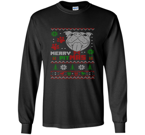 Merry Pitmas Christmas Sweater Design Gift for Pit Lovers T-Shirt Black / Small LS Ultra Cotton TShirt - PresentTees