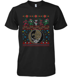New Orleans Saints Christmas Grateful Dead Jingle Bears Football Ugly Sweatshirt Mens Premium T-Shirt