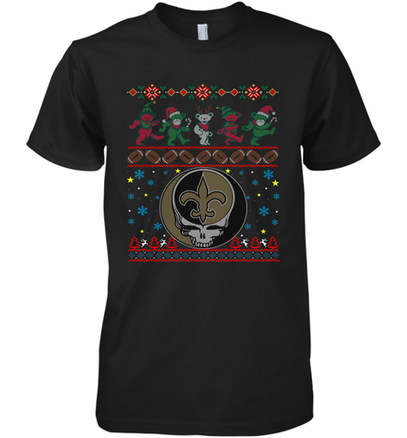 New Orleans Saints Christmas Grateful Dead Jingle Bears Football Ugly Sweatshirt Mens Premium T-Shirt Mens Premium T-Shirt / Black / XS Mens Premium T-Shirt - PresentTees