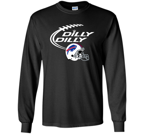 DILLY DILLY Buffalo Bills NFL Team Logo Black / Small LS Ultra Cotton TShirt - PresentTees