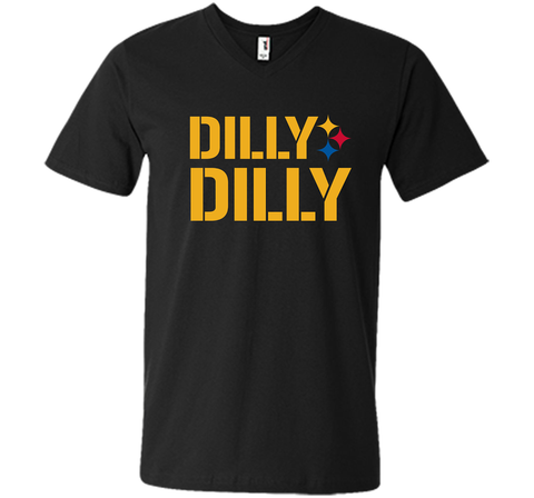 DILLY DILLY LOGO STEELERS Black / Small Men Printed V-Neck Tee - PresentTees