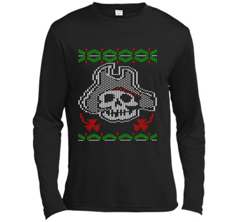 Pirate Christmas Ugly Sweater T-Shirt Black / Small LS Moisture Absorbing Shirt - PresentTees