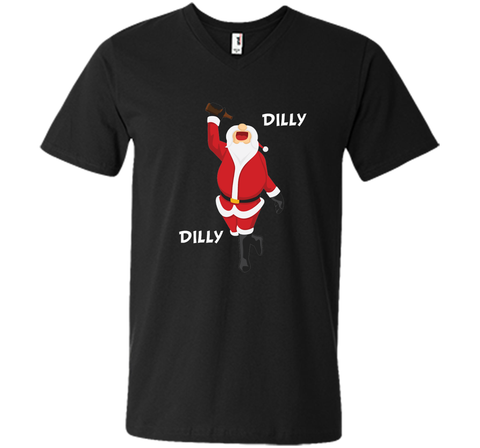 Dilly Dilly Christmas Santa Get Lit T Shirt Black / Small Men Printed V-Neck Tee - PresentTees