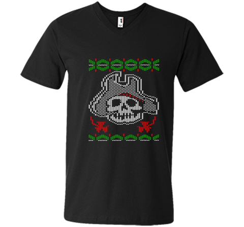 Pirate Christmas Ugly Sweater T-Shirt Black / Small Men Printed V-Neck Tee - PresentTees