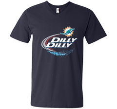 Miami Dolphins MIA Dilly Dilly Bud Light T Shirt MIA NFL Football Shirts Gift for Fans Men Printed V-Neck Tee - PresentTees