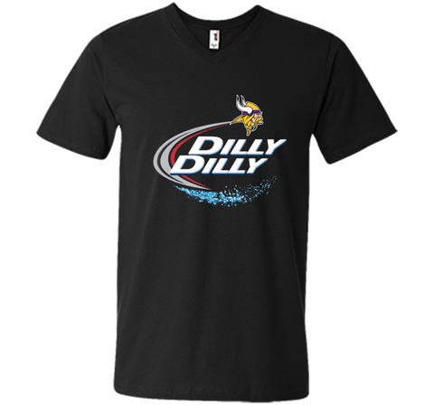 Vikings Dilly Dilly T-Shirt Minnesota Vikings NFL Football Gift Fans Black / Small Men Printed V-Neck Tee - PresentTees