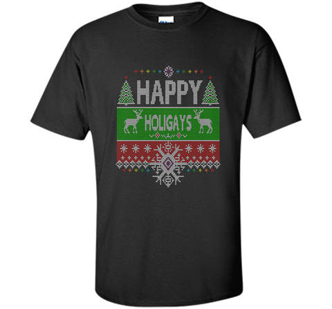 Happy Holigays Rainbow Gay - Lesbian Ugly Christmas Sweater T-Shirt Black / Small Custom Ultra Cotton Tshirt - PresentTees