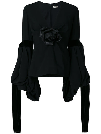 Saint Laurent Black Flower Blouse