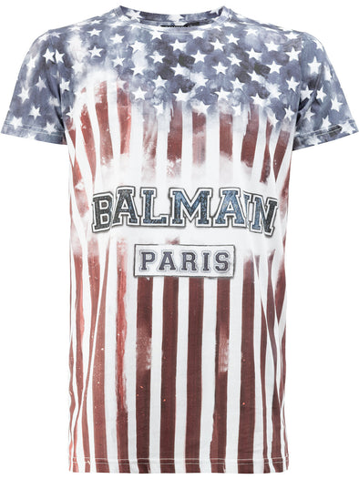 Balmain USA flag logo T-shirt