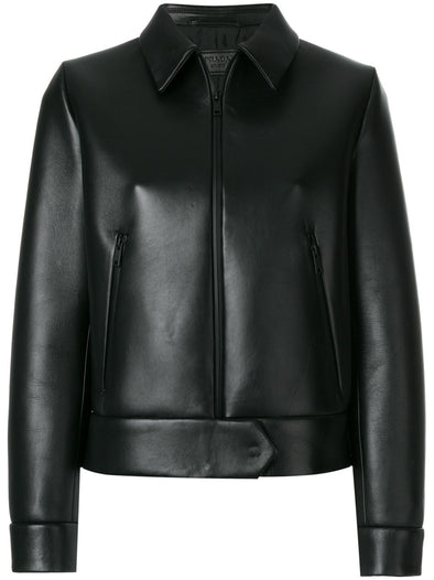 Prada Cropped stretch leather jacket