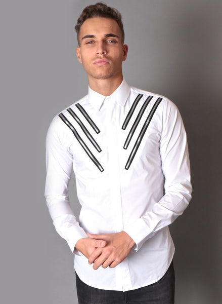 White shirt with zip detailing for men Risk Sport