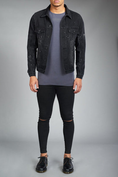 Black denim jacket with white paint detailing for men