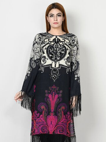 silk embroidered dress
