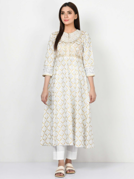 EMBROIDERED LAWN FROCK