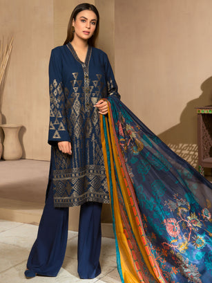 3-Pc Embroidered Winter Cotton Suit