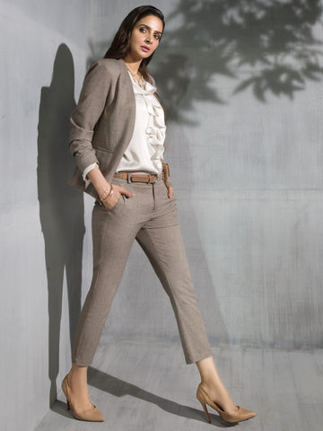 Patterned Suit Pants - Light Brown