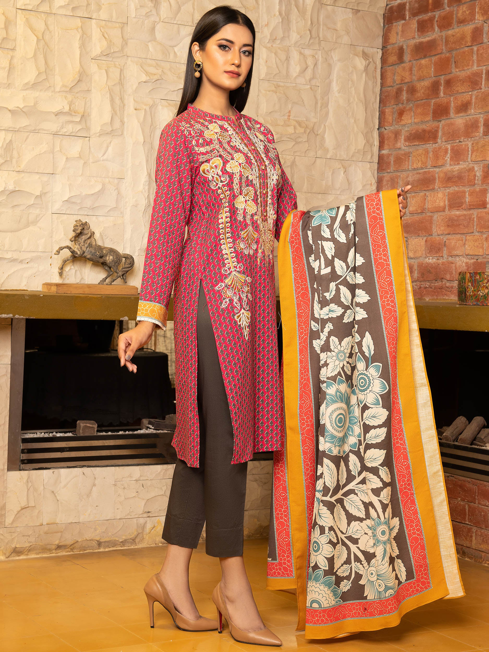 2-Pc Embroidered Slub Khaddar Suit