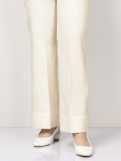 Silk Bootcut Pants - Off White