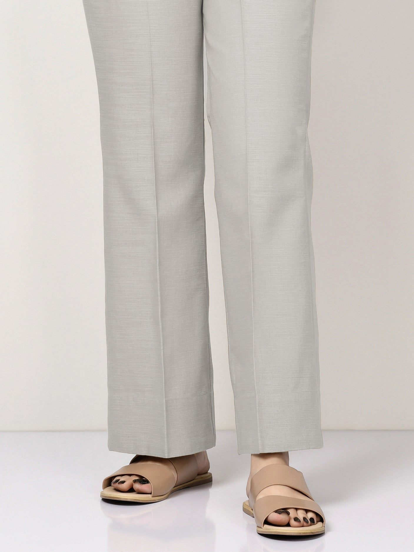 Unstitched Khaddar Trouser - Light Grey