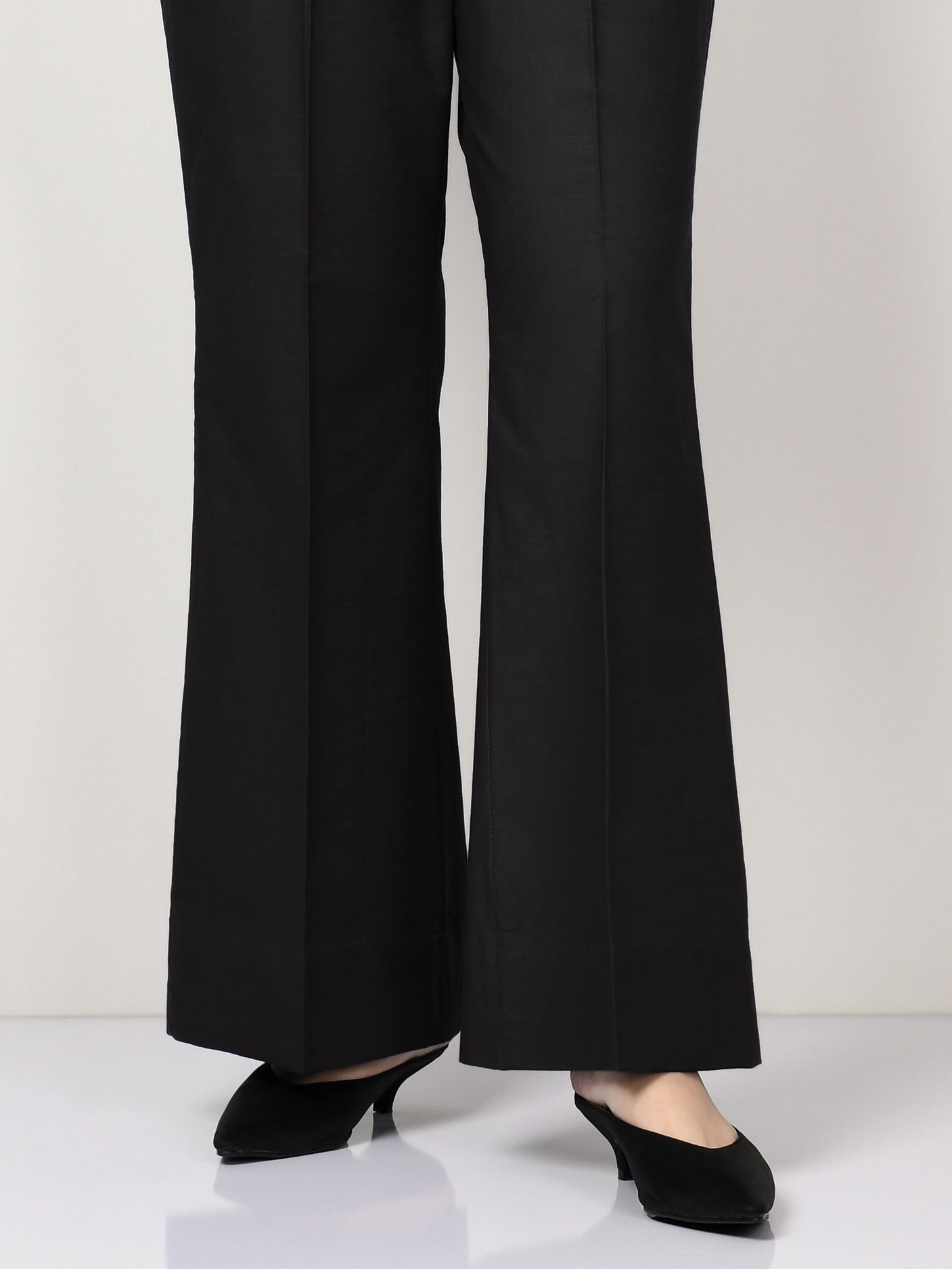Silk Bootcut Pants - Black