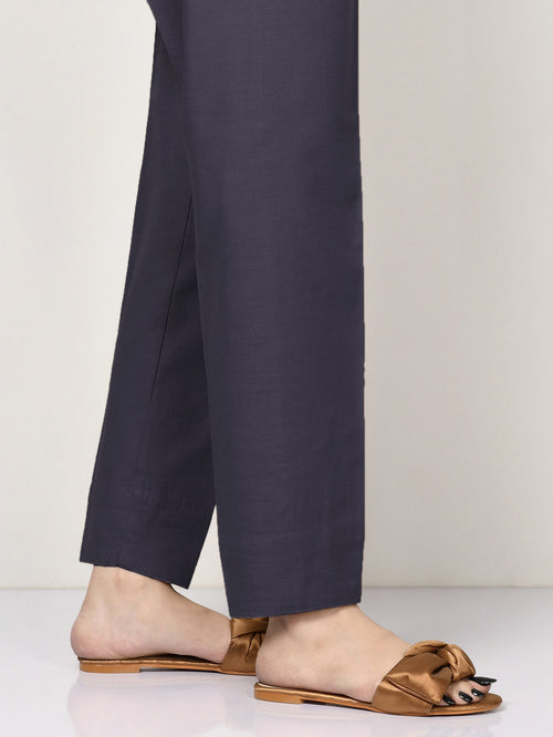 Khaddar Straight Trouser - Denim Blue
