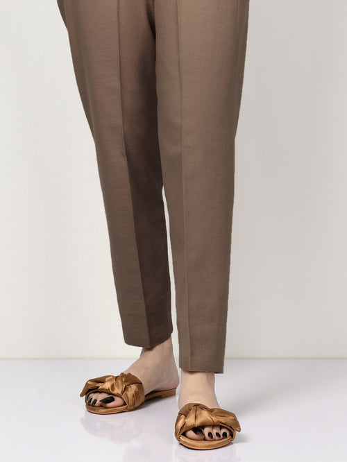 Khaddar Straight Trouser - Dark Brown