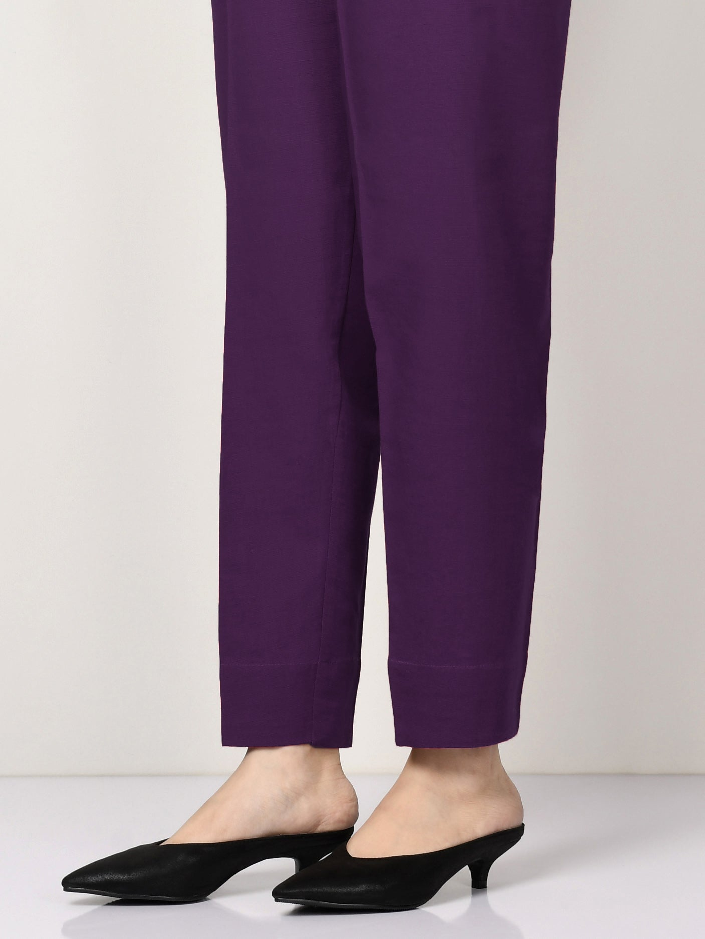 Khaddar Straight Trouser - Purple