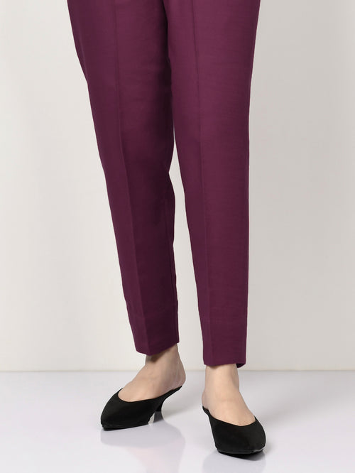 Khaddar Straight Trouser - Plum